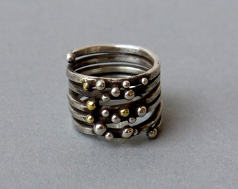 Spiral silver ring decorated with beads, silver ring, an exceptional ring with silver and brass balls, one of a child