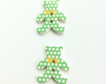 Teddy Bear Button - Scrapbooking Flatback Button - Wooden Button - Polka Dot Button - Sewing Notion Mixed Buttons Craft Buttons Craft Supply