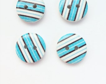 White Turquoise Small Button - 15 MM Button (half inch button) - Stripe Button - Craft Scrapbooking Buttons - Black Stripe Wooden Buttons