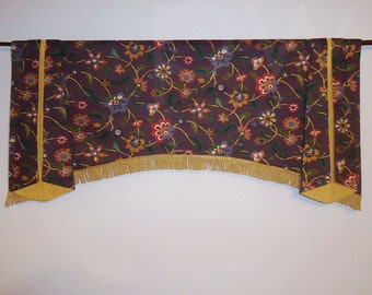 Purple and Gold Jacobean Window Valance