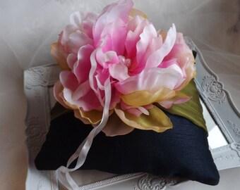 Ring Bearer Pillow, Wedding Ring Pillow, Silk Ring Pillow, Navy Ring Pillow, Something Blue, Flower Ring Pillow, Blue Ring Pillow,