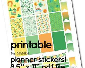 MAMBI Printable St Patricks Full Box Stickers - Boxes, Headers and Flags for Planner - green yellow orange, horseshoe shamrock rainbow gold