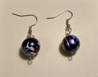 Swirled Purple Earrings