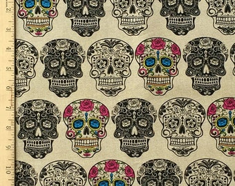 Sugar Skull Beige Fabric, Calavera, The Day of the Dead Fabric, Dia De Los Muertos Sugar Skulls Print Fabric, 100% Cotton Fabric by the Yard