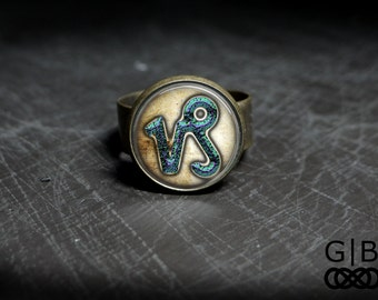 Capricorn Astrology Ring With Adjustable Ring - Capricorn Jewelry Ring - Capricorn Astrology Jewelry Ring - Capricorn Adjustable Glass Ring