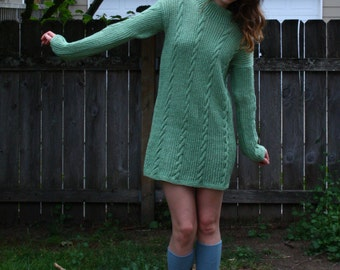 Mint Mod- A Vintage Mini Sweater Dress