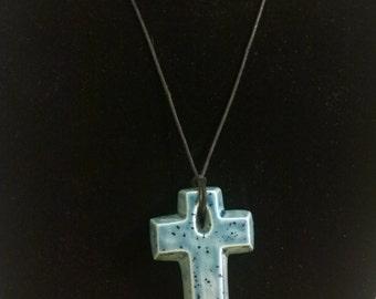 "17"" Blue Ceramic Cross Necklace"
