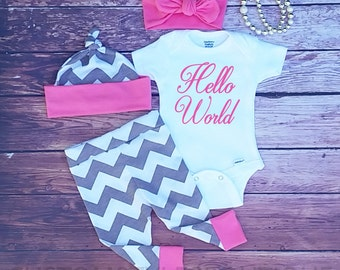 Baby Girl Coming Home Outfit, Hello World, Gray Chevron With Pink Cuffs, Leggings,Hat and Headband,Baby Leggings, Baby Girl Going Home