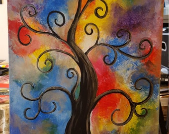 Whimsy Tree Acrylic Painting 16 x 20