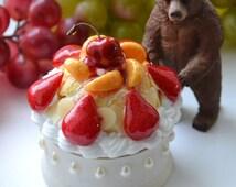 Decoden jewelry box || Cake, Miniature, Sweets, Deco, Decoden, Kawaii, Jewelry Box, Gift for her Whipped Cream Cherry Strawberry Rhinestones