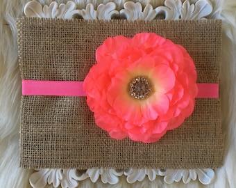 Baby Headband, Pink Flower Headband, Elastic Headband, Newborn, Toddler, and Child Headband, Hair Bows