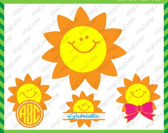 Smiling Sun Monogram Split With Bow Frames SVG DXF PNG eps Summer Cut Files for Cricut Design, Silhouette studio, Sure Cut A Lot, Makes Cut