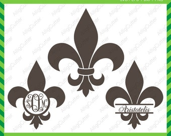 Fleur de Lis Monogram Mardi Gras Frames SVG DXF PNG eps Cut Files for Cricut Design, Silhouette studio, Sure Cuts A Lot, Makes the cut