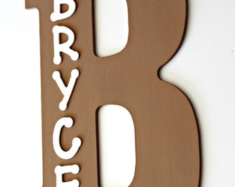 Boys Wooden Name Sign for a wall or door