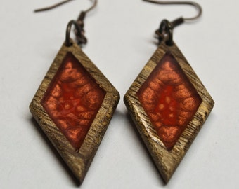 Handmade rhombus earrings