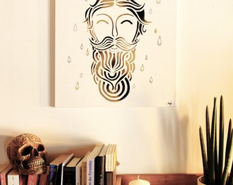BAD boys / EMILYMESLI - Painting, square original painting - acrylic / stencil, black and Gold, beard, barbershop