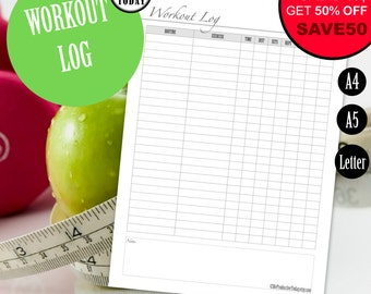 printable exercise log / fitness planner dashboard to use with