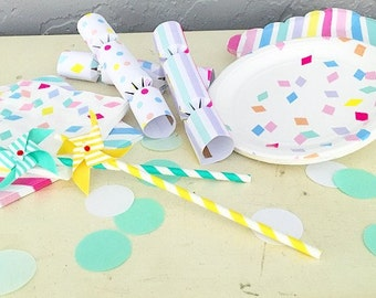 Cake and Confetti Party-in-a-Box! Pastel Party Supplies for 8 people.