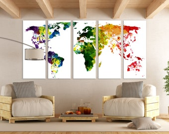LARGE World Map Panels Poster Decor Canvas World Map Print / Multi Panel  Wall Art World Map for Home u0026 Office Wall Art / Interior Wall Decor