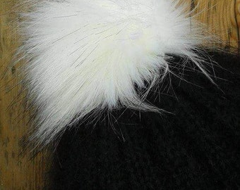 Spare Artic Fox - White Faux Fur Pom Pom Bobble for hat with press stud. Extra long fur. Large Detachable pom pom 45 colours available