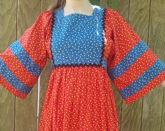 70s red and blue floral maxi dress angle sleevesleeve small medium