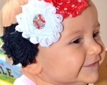 Red, White and Black baby headband, Baseball headband, newborn, infant or toddler headband