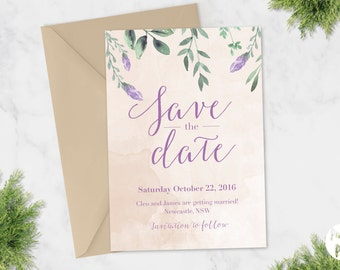 Printable Save The Date | Wedding Invitation | Cleo Suite | Lavender  Greenery Natural Leaves French