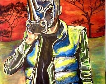 Acrylic, Large Painting, Canvas, Rhinoceros, Pop Surrealism, Orange Sky, Acacia Trees, African Landscape, Electric Orange, ocean blue