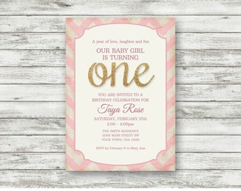 1st Birthday Invitation, Baby Girl, Pink & White Chevron, One, Purple, Girl First Birthday Invite, One Year Birthday, Digital, Printable