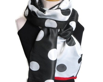 Reversible Scarf, Polka Dot Scarf, Red Trimmed Scarf, Black White Scarf, Long Scarf, Summer Scarf, Double Sided Scarf, Red Scarf