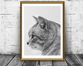 Cat Print, Printable Cat Art, Cat Profile Photo, Kid Gift Wall Decor, Black and White Pet Wall Art, Nursery Print, Housewarming gift