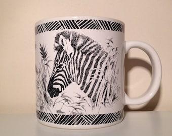 Vintage San Diego Zoo Wild Animal Park Zebra Coffee Mug Cup 1989 Gotschalk