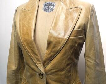 Vintage Women's Tan Leather Blazer Beige Leather Fitted Jacket Formal Suit Jacket