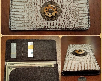 REDUCED! Soft Slim Style Ladies Leather Wallet, Alligator Embossed Leather Wallet, 5 Card Slot/4 Pocket Interior, HandCrafted