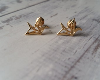 Geometric Origami Inspired Crane Stud Earrings