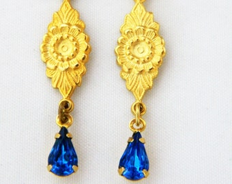 Vintage Blue Rhinestone Dangle Drop Hook Earrings Pressed Metal Flowers Delicate Gold Tone Bride Bridal Wedding 2""