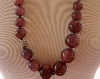 "Demi Parure, Necklace Bracelet Set, Beaded Necklace, Stretch Bracelet, Statement Jewelry, Costume Jewelry, Purple, Chunky, Marked ""T"""