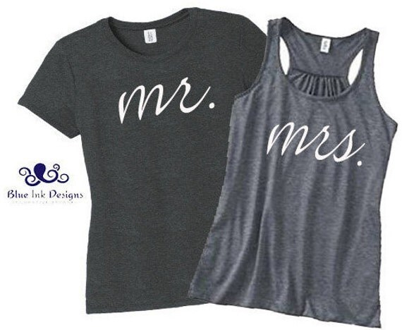Mr. & Mrs. T-shirt Set. Bride and Groom. Honeymoon. Newlyweds. Just Married.