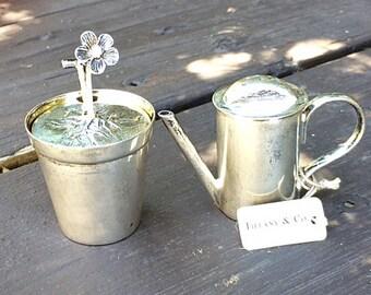 Tiffany & Co Sterling Silver Open Salt Cellar and Pepper Shaker