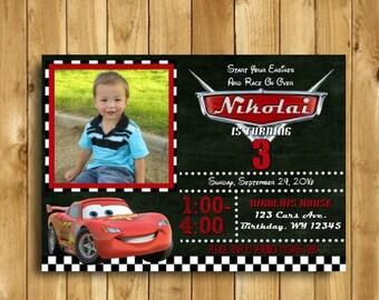 Cars Birthday Invitation, Cars Invitation, Cars Birthday Party, Cars Theme, Cars Disney, Lightning McQueen Invitation,DIGITAL 5x7