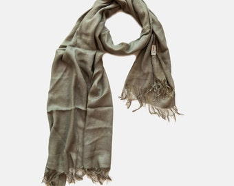 Green Shimmer Scarf, Smoky Green Viscose Scarf with Golden Shimmer threads. scarf on sale, Christmas in July Sale