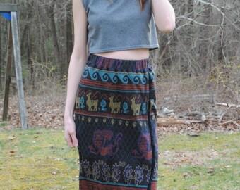Vintage 70s Christian de Castelnau Printed Boho Knit Fringe Skirt Llama Pattern Size XS/Small