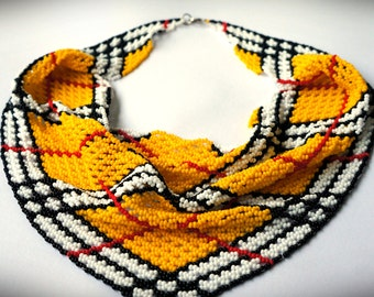 Handmade Yellow Black and White Bead Necklace, Beaded Kerchief Necklace, Bead Scarf Necklace, Bead Neckerchief Necklace, Beaded Necklace.