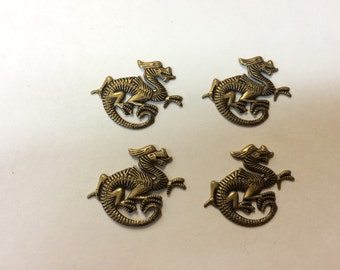 Brass Stamping - Antique Finish Dragon - Set of 4