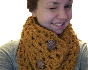 Crocheted Button Infinity Scarf, crocheted cowl, fiona button cowl, button scarf, crochet scarf