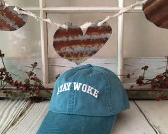 STAY WOKE Washed Baseball Hat Low Profile Embroidered Baseball Caps Dad Hats Teal Blue