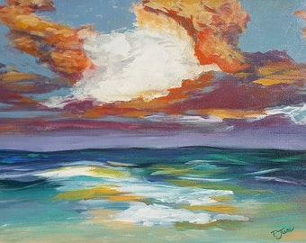 """Storm Sunset-16""""x20"""" Original Acrylic Painting on Stretched Canvas"""