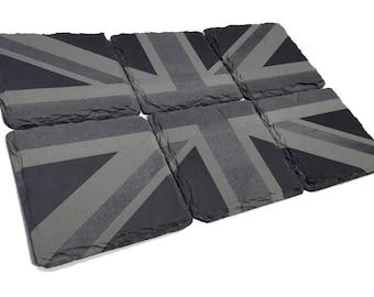 Union Jack - Slate Engraved Coaster Set