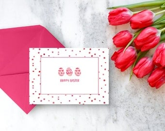 Easter Greeting Card - Happy Easter - Set of 5 Easter Cards - Watercolor Easter Card - Kid's Easter Cards - Notecard Set