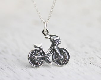 Bicycle Necklace - Sterling Silver Bicycle Charm Necklace - Bicycle with Basket -Girl Bike Necklace Cyclist Jewelry Vintage Bicycle Necklace